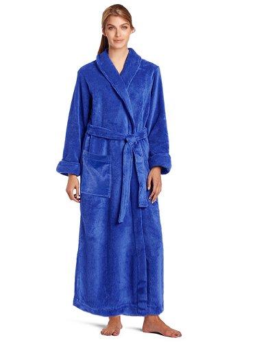 - Terry Velour Bathrobe 100% Cotton Blue Shawl Robe Men