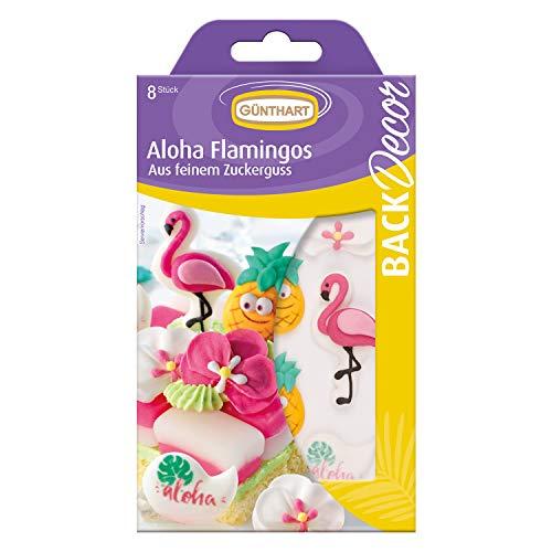 Günthart BackDecor Zucker Flamingo Set | Ananas aus Zucker | Flamingo Zuckerfiguren | Aloha Zuckerfiguren | Aloha Party | Flamingo Party