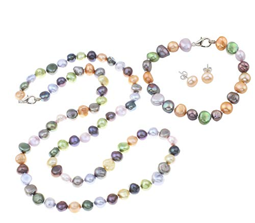 Treasurebay Multi-coloured Irregular Freshwater Pearl Necklace, Bracelet and Earring Jewellery Set
