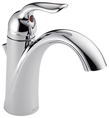 Delta Faucet Lahara Single Hole Bathroom Faucet, Single Handle Bathroom Faucet Chrome, Bathroom Sink Faucet, Diamond Seal Technology, Metal Drain Assembly, Chrome 538-MPU-DST