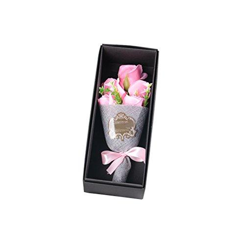 Tinksky Bouquet de fleurs 5 Roses à savon parfumé Boîte à cadeaux pour la Saint-Valentin Fête des mères Fête de Thanksgiving Anniversaire Noël (rose)