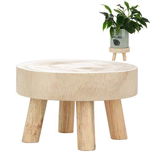 FGASAD - Taburete redondo para plantas de madera, para almacenamiento de bonsái, taburete de almacenamiento suculento para macetas, para el hogar, sin maceta