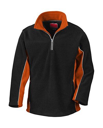 Tech3 Fleece-Sportsweatshirt mit 1/4 Reißverschluss L,Black/Orange