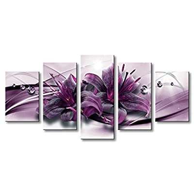 Lily Flower Canvas Wall Art Modern Print Floral Painting for Living Room from Funpark Art