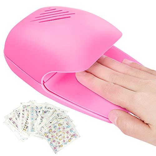 Ertisa Secador de Uñas, Mini secador portátil de esmalte de uñas para esmalte de uñas, máquina de ventilador de secado de uñas fresca para el hogar con apliques de uñas para niños niñas mujeres