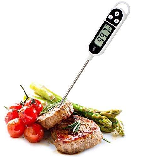Termometro da cucina professionale, termometro digitale ad Alta Precisione in Acciaio Inox con Display LCD Digitale per Cibi Alimenti solidi e Liquidi BBQ Griglia, Carne Barbecue, Vino, Latte, Acqua.
