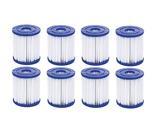 SYANO Größe 1 Filterkartusche,aufblasbarer Pool-Filter, einfache Installation, Ersatz Filterkartusche, für Pool für Bestway Typ I Whirlpool oder Spa (8Stück)
