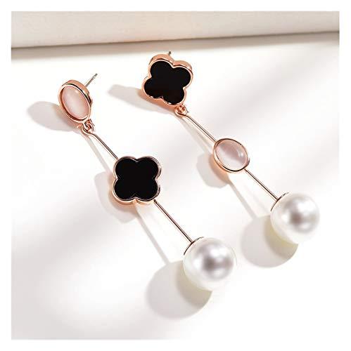 LDH Imitation Pearl Earrings Asymmetric Earrings for Girls Fashion All-match Long Earrings Opal 925 Silver Temperament Earrings 1.3 * 5.9cm