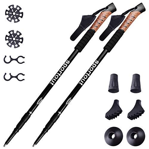 Sportout Lot de 2 bâtons de marche en aluminium léger et réglable, noir