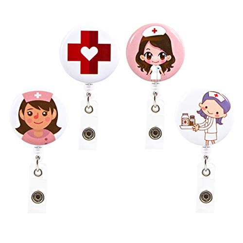 4 Pack Badge Reel for Nurse 24 Inches Retractable Cord Soleebee Cute Bandage Retractable Badge Reel Holder ID Badge Holder with Belt Clip