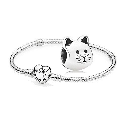 Original Pandora Geschenkset - 1 Silber Armband mit Herz Schließe 590719-20 und 1 Silber Charm Neugieriges Kätzchen 791706