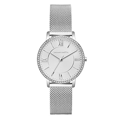 XLORDX Damen Uhr Analog Quarz Armbanduhr mit Bicolour Silber Roségold Edelstahl Milanese Armband, 3ATM Wasserdicht mit Weiß-Zifferblatt
