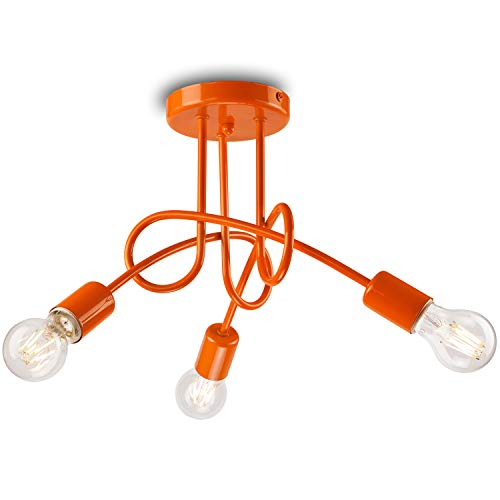 Pendel-Leuchte Decken-Leuchte aus metall E27 Hänge-Leuchte (Farbe: Orange) Vintage Industrieleuchte Wohnzimmerlampe Modern Wohnzimmer Vintagelampe für Wohnzimmer/Küche/Büro/Praxis
