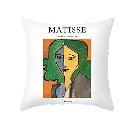 PPMP Matisse Aceite Funda de cojín Pintura al óleo sofá Funda de Almohada decoración del hogar Funda de cojín Decorativa Funda de Almohada abrazadora A6 45x45 cm 1pc