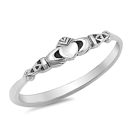 Claddagh Love Heart Celtic Knot Promise Ring Size 9