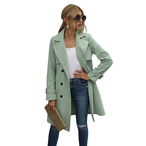 Carolilly Damen Trenchcoat Lange Windjacke lässige langärmelige Jacke Revers Windjacke mit Gürtel zweireihig Frühling und Herbst Damen lässige Modejacke (Grün, XL)
