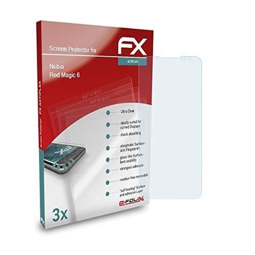atFolix Schutzfolie kompatibel mit Nubia Red Magic 6 Folie, ultraklare & Flexible FX Bildschirmschutzfolie (3X)
