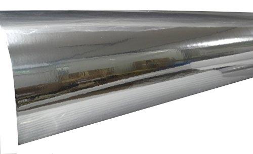 Aerzetix: 152/75cm Film adhésif Vinyle Argent Brillant thermoformable revêtement extérieur intérieur C17235