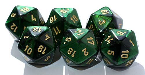 Würfelzeit 7054 - Würfel w20 Alyen grün-schwarz m/Gold (6 Zahlenwürfel im Polybeutel)