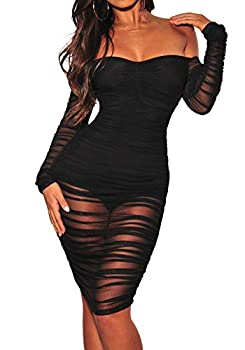 ECHOINE Women s Sexy Off Shoulder Bodysuit Mesh See Through Long Sleeve Sheer Overlay Club Midi Dress Black M