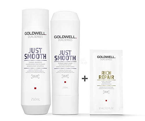 Goldwell Dualsenses Just Smooth Bändigungs Set - Shampoo 250ml + Conditioner 200ml + Rich Repair 60 Sek Pflegekur Sachet 10ml