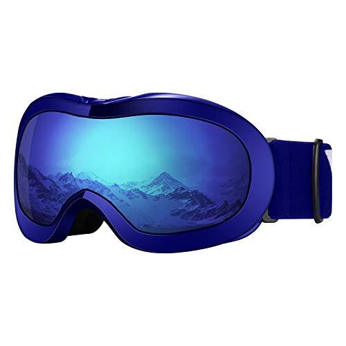 VELAZZIO Kids Ski Goggles, Snowboard Goggles OTG Snow Goggles Anti-Fog Double-Layer Lenses, 100% UV Protection (Blue Frame/Blue Lens with REVO Blue Coating (VLT 52%))