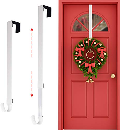 Rorchio Wreath Door Hanger,15-25' Adjustable Wreath Hanger Metal Wreath Hook for Front Door Suitable for Christmas Wreath Decor White