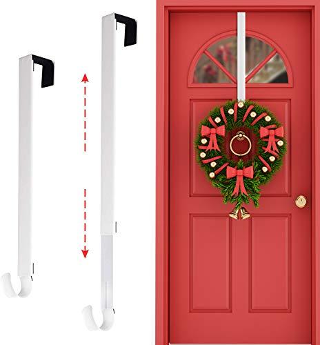 Rorchio Kranz-Türhänger, 38,1–63,5 cm, verstellbarer Kranzaufhänger, Metallkranzhaken für Haustür, geeignet für Weihnachtskranz, Dekoration, weiß