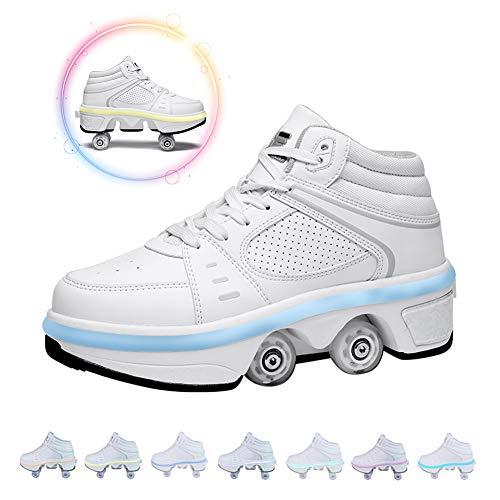 GGOODD Zapatos con Ruedas,Deformación 4 Rueda Patines Zapatos Patines,Zapatos Multiusos 2 En 1,con 7 Colores Luces LED,para Niños Y Niñas,42