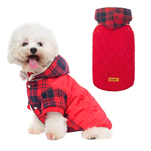 BINGPET Dog Winter Coat, Classic Plaid Dog Hoodie with Leash Hole, Cold Weather Clothes with Detachable Hat, Pet Warm Thicker Fleece Oufit for Small and Medium Large Dogs