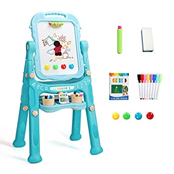 YSOU Easel for Kids Double Sided Standing Toddler Art Easels with Chalkboard & Whiteboard and Magnetic Art Dry Erase Drawing Board with Art Supplies Accessories for Toddlers Boys Girls