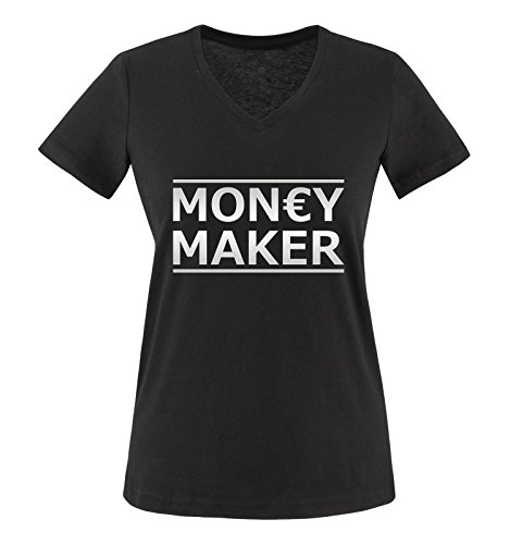 Comedy Shirts - Money Maker - Damen V-Neck T-Shirt - Schwarz/Silber Gr. XXL