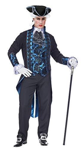 Karneval-Klamotten Barock Kostüm Herren Rokoko Herren-Kostüm blau schwarz INKL. Zylinder