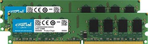 Crucial 4GB Kit (2GBx2) DDR2 800MHz (PC2-6400) CL6 Unbuffered UDIMM 240-Pin Desktop Memory CT2KIT25664AA800 CT2CP25664AA800