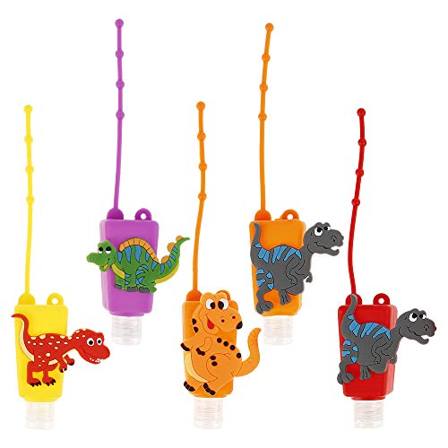 5Pack Portable Cartoon Travel Bottles Set 30ml Leak Proof Silicone Refillable Empty Bottles Hand Sanitizer Containers Holders for School Travel Outdoor Camping (Dinosaur)
