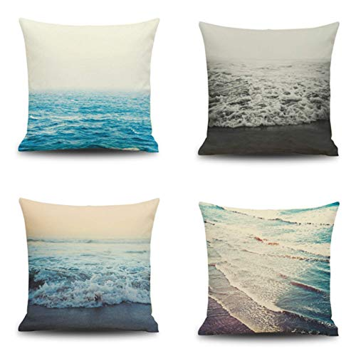 JgZATOA Blue Sea Cushion Cover Living Room Sofa Pillow Cases Bed Pillow Case Office Cushion 45 X 45Cm Set Of 4
