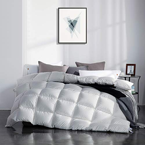 SNOWMAN White Goose Down Comforter Full/Queen Size 100% Cotton Shell Down Proof-Solid White Hypo-allergenic