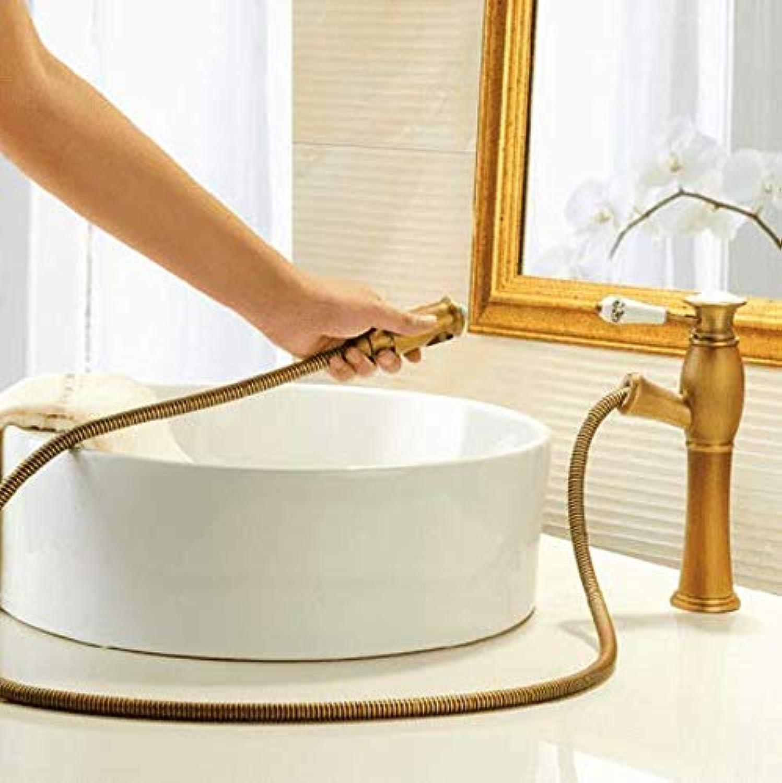 360 ° drehbarer Wasserhahn Retro Wasserhahn Becken Mischbatterie Antik Messing Hohe Badezimmer Ziehen Wasserhahn Waschtischbatterie Ziehen Wasserhahn