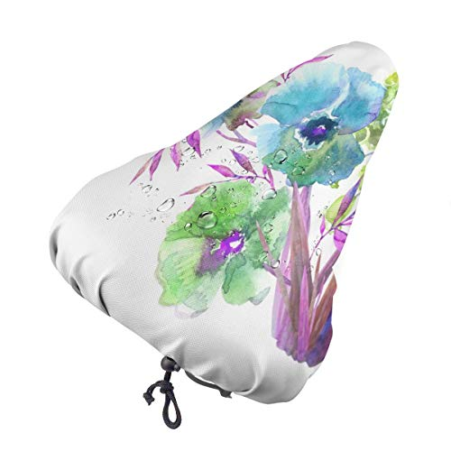 Bike Seat Cover Beautiful Summer Flowers Waterproof Bicycle Seat Rain Cover with Drawstring, Sun/Water/Dust Resistant Bike Saddle Cushion Cover Protector Shield for Women/Men/Unisex