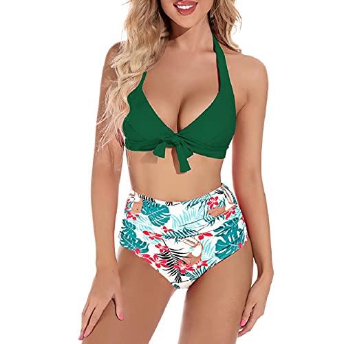UMIPUBO, Conjuntos de Bikinis para Mujer, Trajes de baño divididos de Cintura Alta, Traje de baño Halter, Ropa de Playa de Dos Piezas, Adecuado para Viajes, Vacaciones en la Playa(Verde, L)