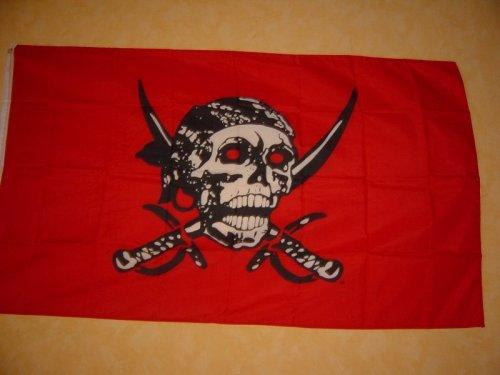 Fahnen Flaggen ROTE PIRAT SÄBEL 150 x 90cm Fahne Flagge