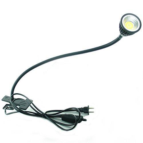 QUANS 5W 3 Colors LED COB Clip on Light Black 19.68 INCH 50 cm Tube Desk Flexible Table Bed Lamp Work Home Design Lighting 110V 220V 85-265VAC with US Plug Switch on Off 500LM (Black)
