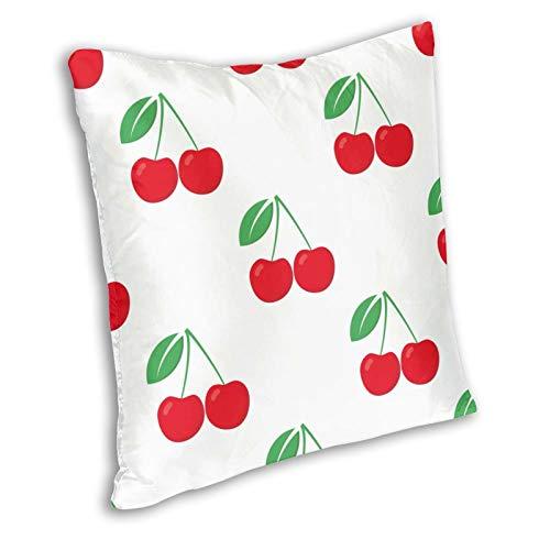 Zanghyu Fundas de cojín, tapa de bayas verdes, cerezas blancas, rojas, blancas, rojas, para comer fresco, para el hogar, decoración para el sofá o la habitación, tamaño 20 x 20 pulgadas
