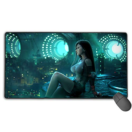 Final Fantasy-Tifa Non-Slip Mouse Pad Rectangle Rubber Gaming Mouse Pad Anime Mouse Pad 30x15.7 Inch(75x40 cm)