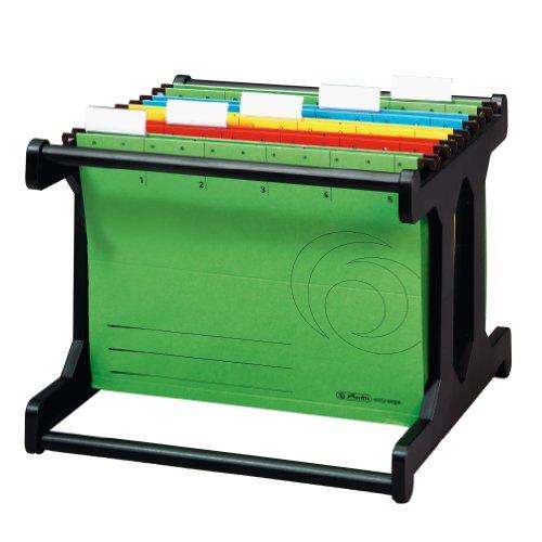Herlitz 1610385 Hängeregistraturgestell Hängebox A4 schwarz mit 4 farbigen Hängemappen