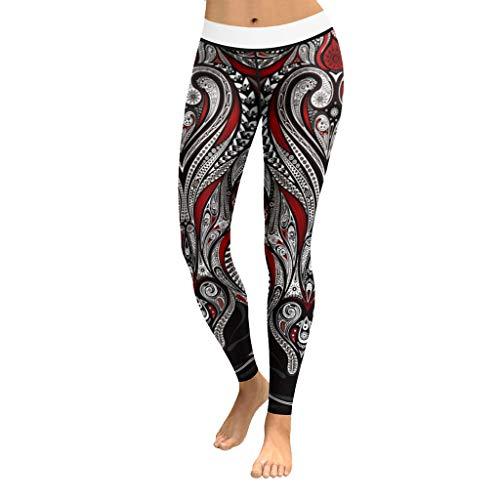 Cattliy Morran Damen Sport Yoga Hosen Leggings Printed Fitness Tights Hosen für Laufen Yoga Workout Gym Fitness Running Pilates Strumpfhose Skinny Pants (rot,S)