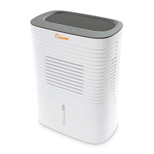Crane Dehumidifier, Compact Portable Design, Effective Moisture Removal up to 300 Sq. Feet, 0.5 Gallon – 2 Liter Water Tank, White