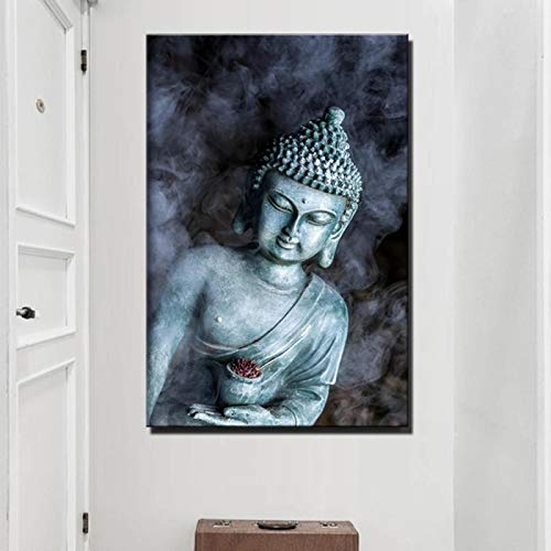 "Smoke Vape Buddha Statue Buddhism Canvas Paintings Large Size Religious Buddha Wall Posters for Living Room Decor 31.4' x47.2""(80x120cm) Frameless"