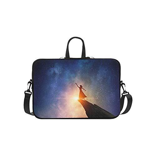 15.6″Durable Hombro Mensajero Bolsa maletín PC La empresaria contra el Cielo Estrellado Mixed Media Moda Impermeable Ordenador Portátil/portátil/Tablets