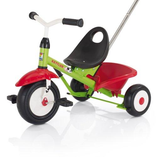 Kettler Funtrike - de coole driewieler met schuifstang - kinderdriewieler voor kinderen vanaf 2 jaar - stabiel kindervoertuig incl. kantelbare zandbak Emma groen en rood.